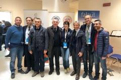 La struttura organizzativa del Cus Salerno con il presidente del Cusi, Lorenzo Lentini, il commissario straordinario di Napoli2019, Gianluca Basile, la campionessa olimpionica, Manuela Di Centa, e il presidente dell'Adisurc, Domenico Apicella